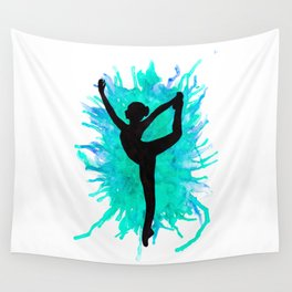 Watercolour Dancer Green Wall Tapestry