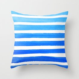 Blue Watercolor Stripes Throw Pillow