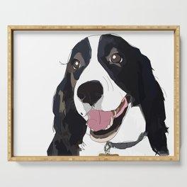 English Springer spaniel dog b/w Serving Tray