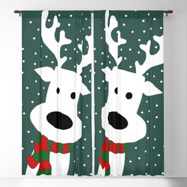 Reindeer in a snowy day (green) Blackout Curtain