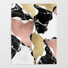 Modern white black marble rose gold foil color block handdrawn geometric lines Poster