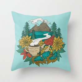 Pacific Northwest Coffee and Nature Throw Pillow