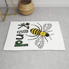 Bee Kind Cute Bee Drawing with Flowers Colored Version Rug