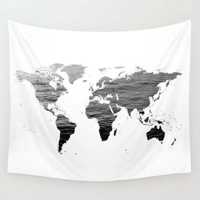 World Map   Ocean Texture   Black and White Wall Tapestry by