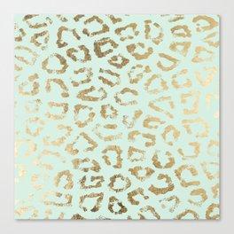 Elegant trendy neo mint gold cheetah animal print Canvas Print