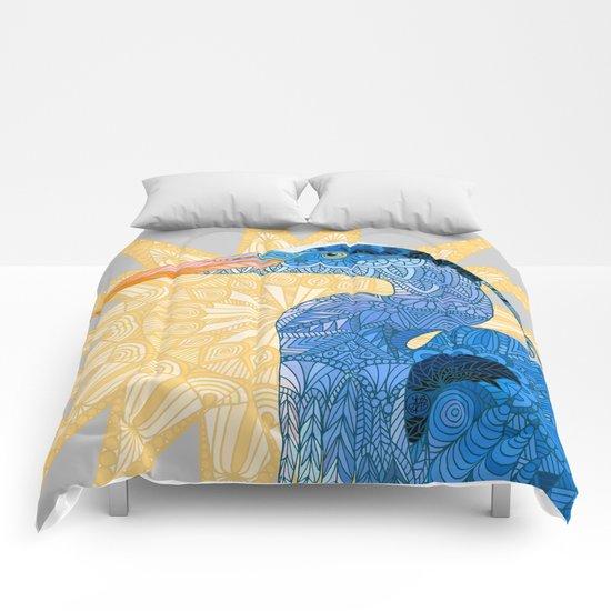 Blue Heron in the sun Comforters
