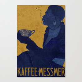Vintage Blue and Yellow Turkish Coffee Woman with Cigarette Canvas Print