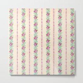 Vintage Pink Floral Stripes Metal Print