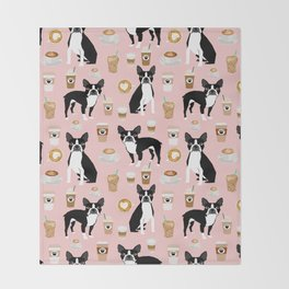 Boston Terrier coffee dog breed gifts pupuccino dog lover Boston terriers pure breed Throw Blanket