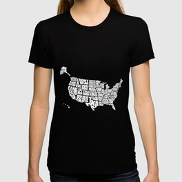 USA Word Map - Black and White T-shirt