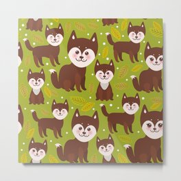 seamless pattern funny brown husky dog and leaves, Kawaii face with large eyes and pink cheeks Metal Print