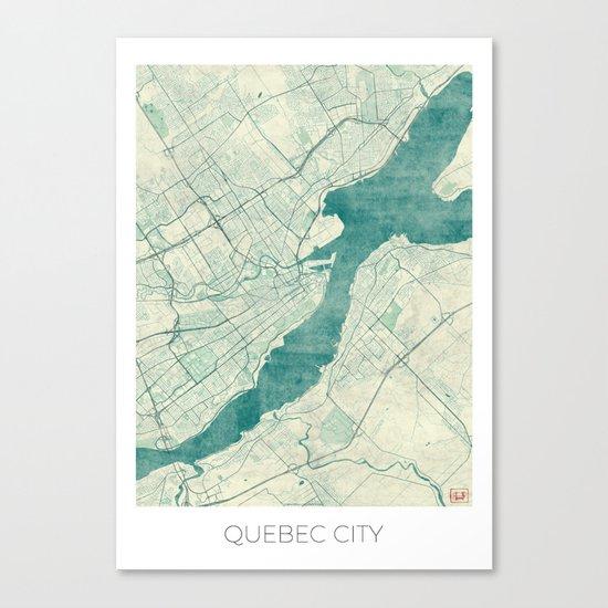 Quebec City Map Blue Vintage Canvas Print