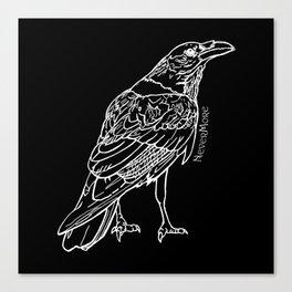 Raven White Canvas Print