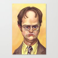 dwight schrute Canvas Prints featuring Mr. Dwight K Schrute by Ben Anderson