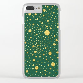 Gold leaf hand drawn dot pattern on petrol green Clear iPhone Case