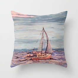 Sailing on the bay at sunset Throw Pillow