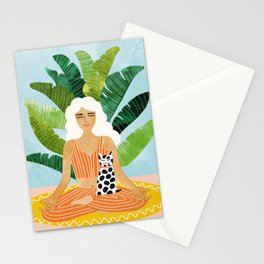 Meditation With Thy Cat #illustration #painting Stationery Cards