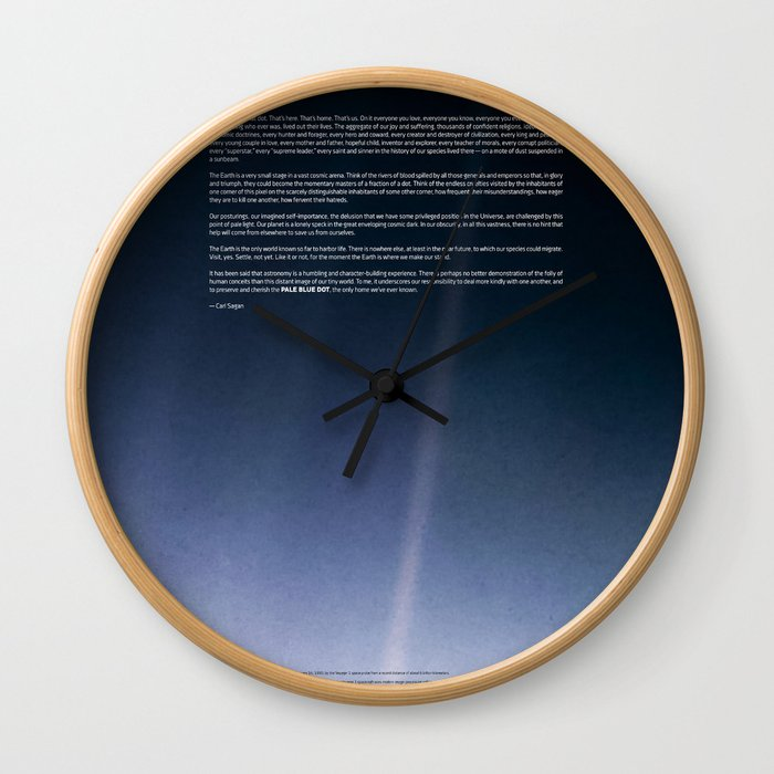 Pale Blue Dot — Voyager 1 (2020 rev.), quote Wall Clock