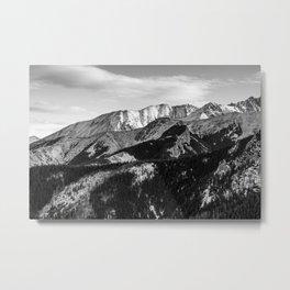Black and White Mountains Metal Print
