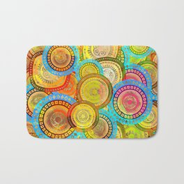 Colorful Circular Tribal  pattern with gold Bath Mat