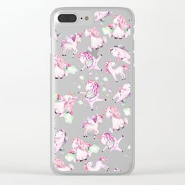 Cute Girly Pink Unicorn Rainbow Watercolor Clear iPhone Case