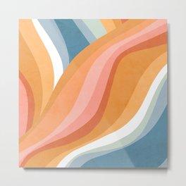 Rainbow Waves Pattern Metal Print
