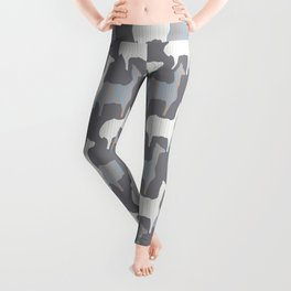 Gray Pink and White Llama Silhouette Seamless Leggings