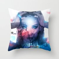 2ne1 Throw Pillows featuring America  by LC_Korim