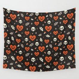 I Heart Halloween Pattern (Black) Wall Tapestry