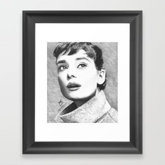 Audrey Hepburn Pen Drawing  Framed Art Print