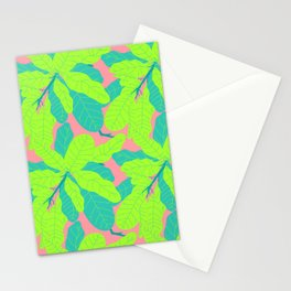 Tropicana Banana Leaves in Neon Peach + Lime Stationery Cards
