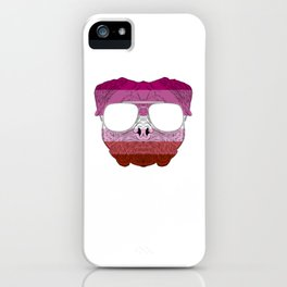 Pug Dog Face Gay Pride Lesbian Rainbow Flag with Sunglasses iPhone Case