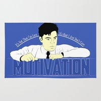 motivation Area & Throw Rugs featuring Motivation - Office Space by Chubbybuddhist