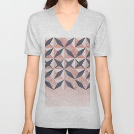 Trendy coral gray faux gold glitter geometrical pattern Unisex V-Neck