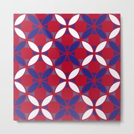 Geometric Floral Circles In Bold Red White & Blue Metal Print