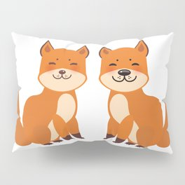 cute fox, boy and girl with funny face and fluffy tails on white background Pillow Sham