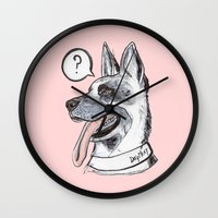 meat Wall Clocks featuring Dog Meat by scoobtoobins
