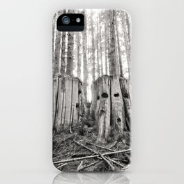 Nurse Stump Pacific Northwest Forest Cedar Trees Sepia Print iPhone Case