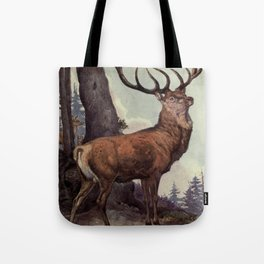 Vintage Red Deer Painting (1909) Tote Bag
