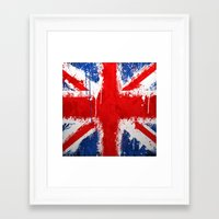 british flag Framed Art Prints featuring BRITISH FLAG by Sophie