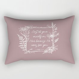Cast Your Anxiety Wildflower Frame Bible Verse Rectangular Pillow
