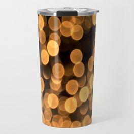 Golden Bokeh Light On A Black Background #decor #society6 Travel Mug