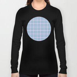 White & Aqua Plaid Pattern with Light Blue Background Long Sleeve T-shirt