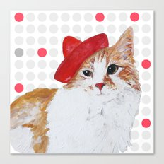 red hat cat  Canvas Print