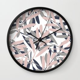 Prints of Leaves, Navy, Gray and Mustard Yellow, Design Prints Wall Clock
