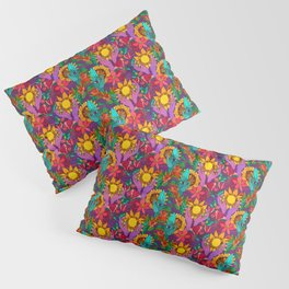 Pattern with sunflowers, magnolia, gladiolus and human hands Pillow Sham