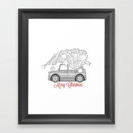 Merry Christmas car and tree Framed Art Print