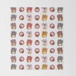 Colorful Maneki - neko pattern design Throw Blanket