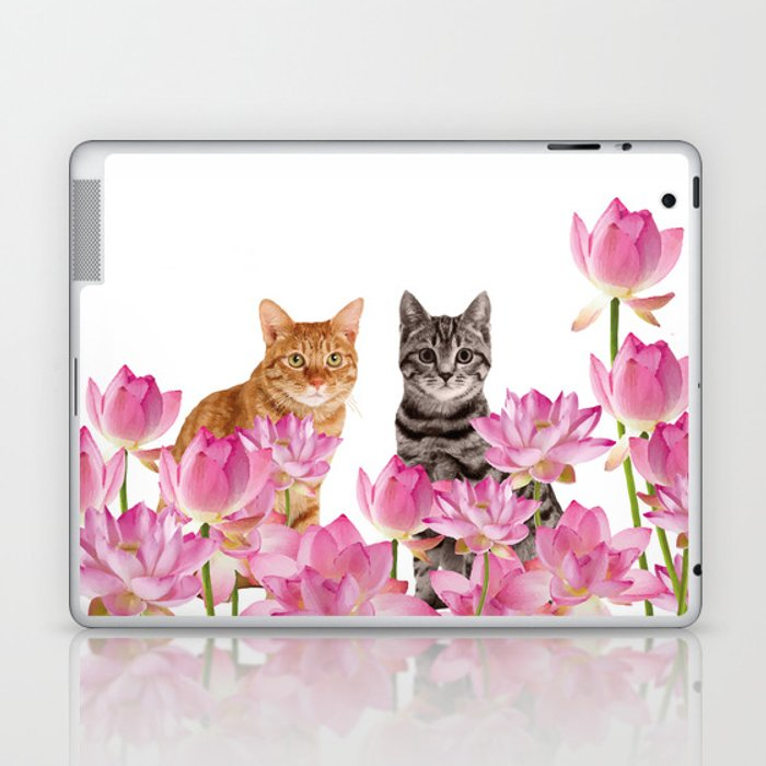 Red and Tiger cat in Lotos Flower Field Laptop & iPad Skin
