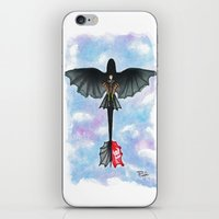 hiccup iPhone & iPod Skins featuring Hiccup and Toothless Flying from How to Train your Dragon 2 by Brietron Art